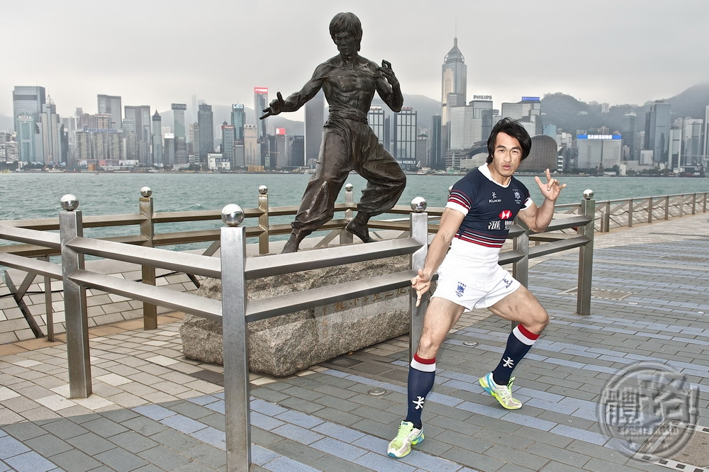 Hong Kong winger and Bruce Lee lookalike Salom Yiu Kam Shng models the new HK Team Sevens kit