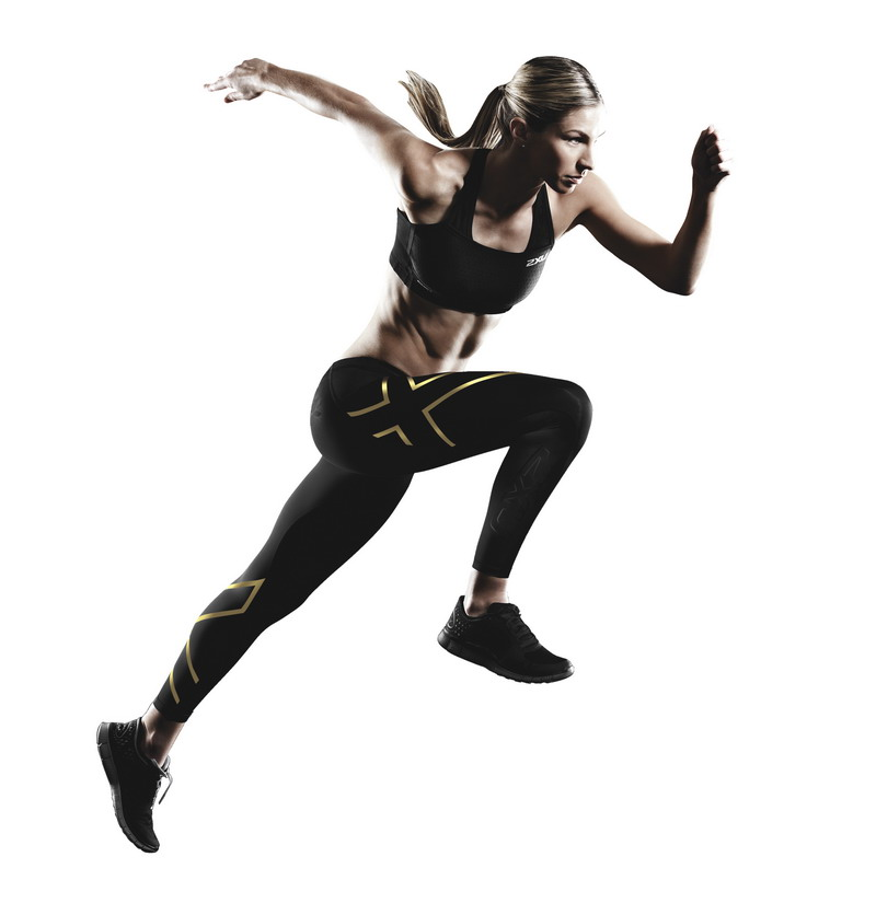 2XU Gold Compression Tights_female model
